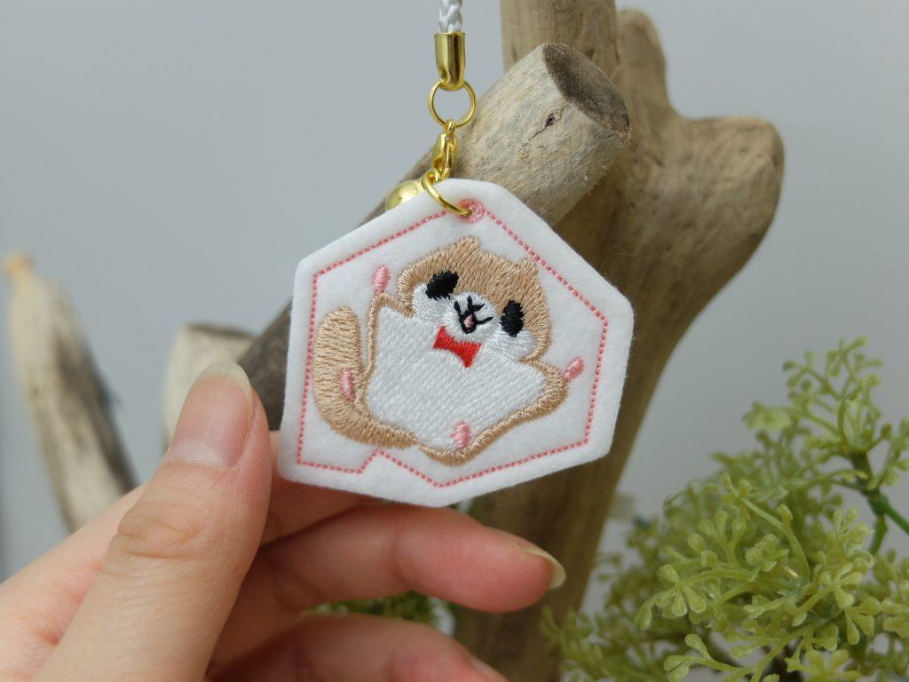 北海道の動物 刺繍ストラップ エゾモモンガ