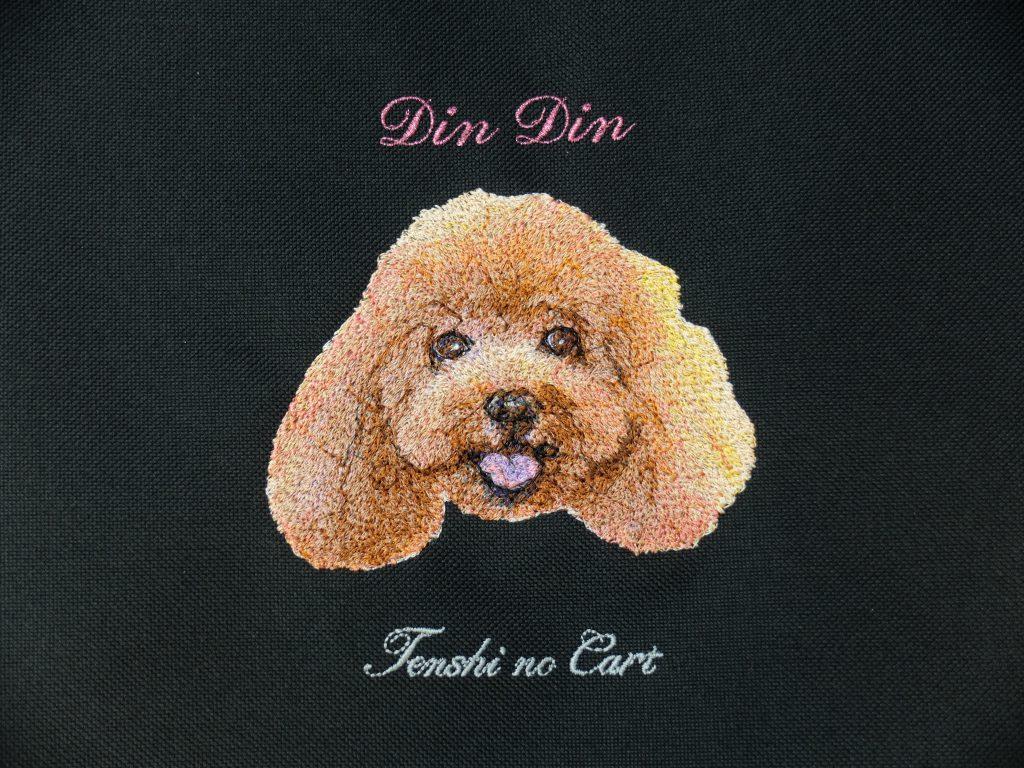 フォト刺繍 犬 天使のカート ペットカート