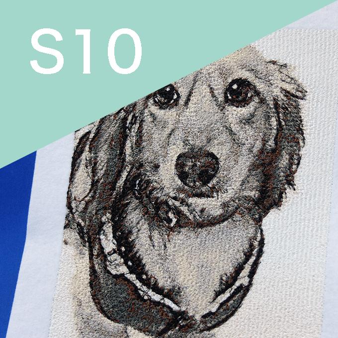 フォト刺繍 S10 犬 セピア