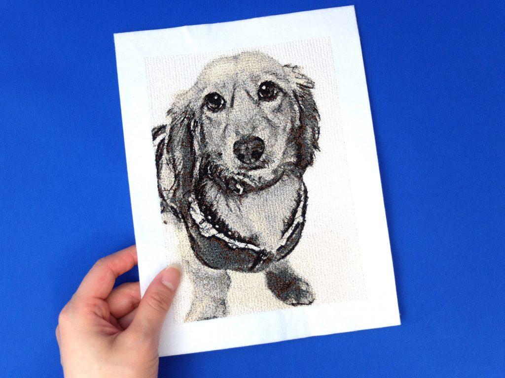 フォト刺繍 セピア 犬 猫
