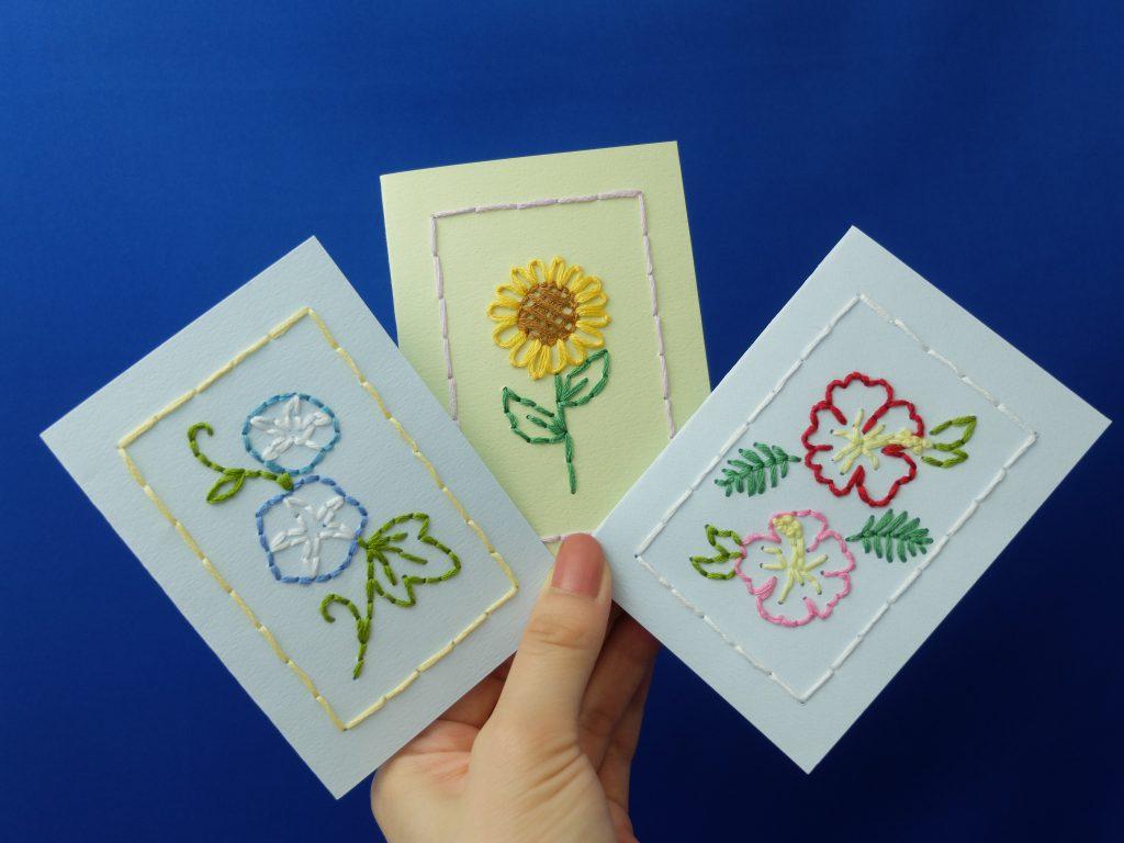 紙刺繍 夏の花