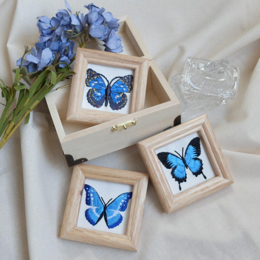青い蝶 刺繍