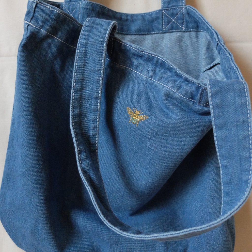 ブルービー 青い蜂 トートバッグ 刺繍