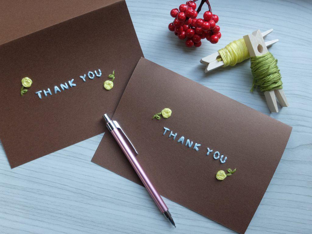 紙刺繍 メッセージカード thankyou