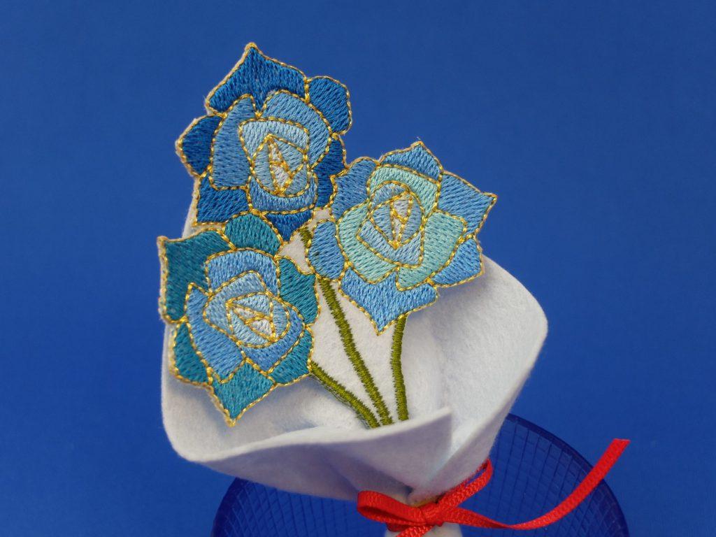 母の日 青い薔薇 刺繍