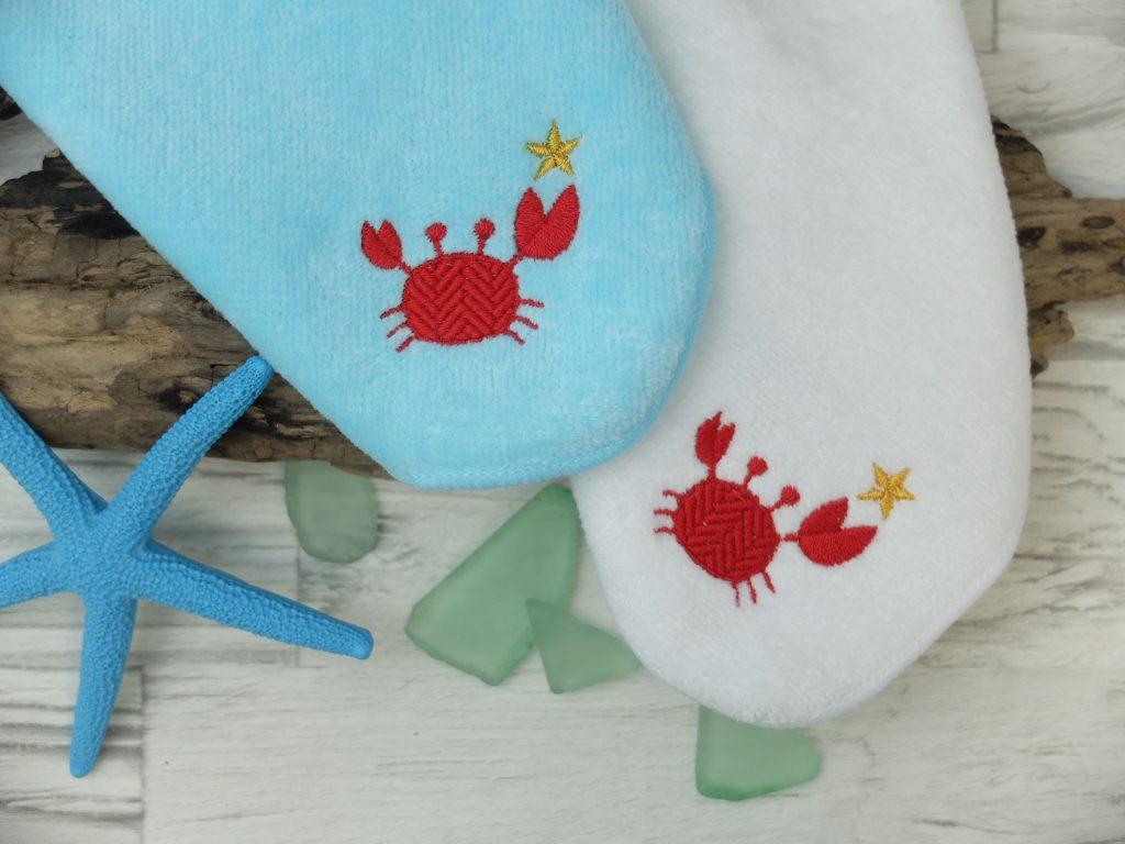 蟹 刺繍 タオルハンカチ