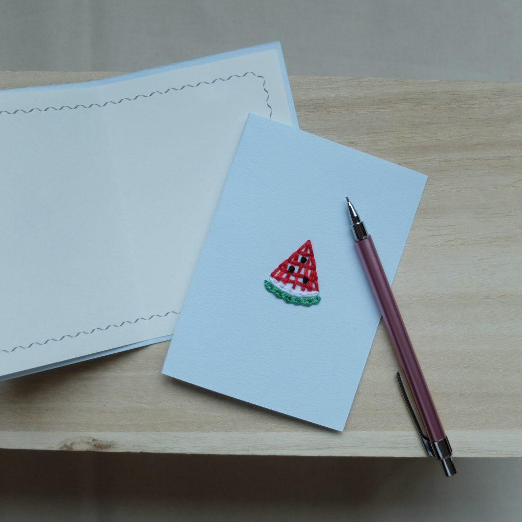 紙刺繍 メッセージカード スイカ