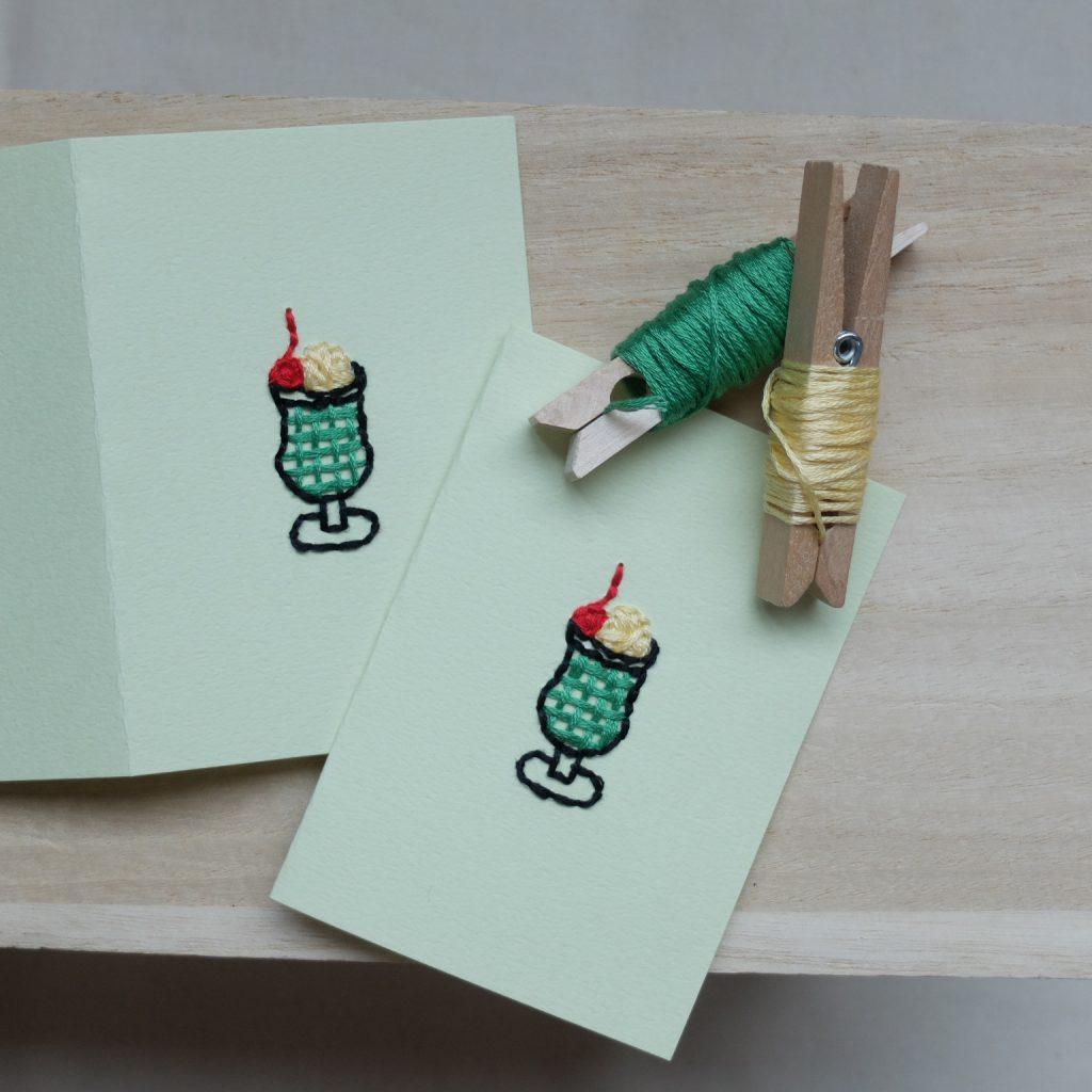 紙刺繍 メッセージカード クリームソーダ