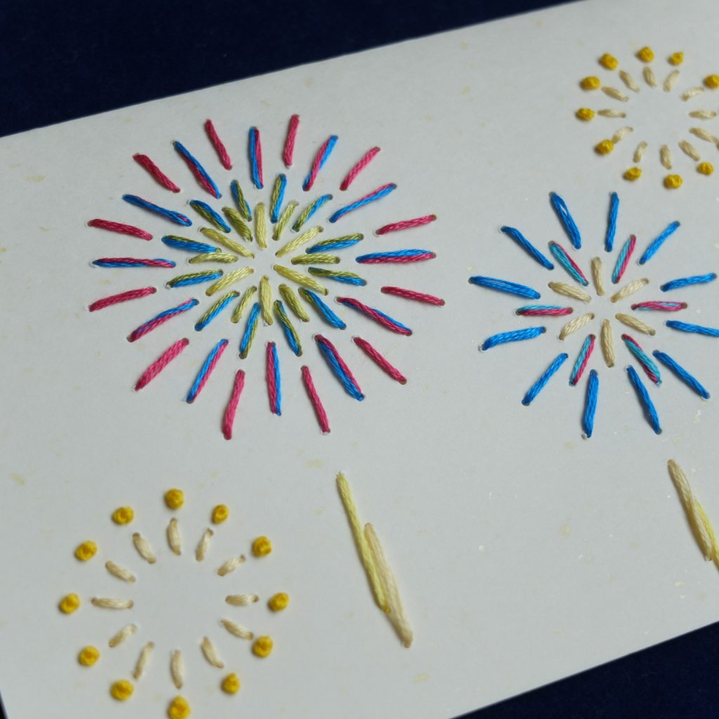 紙刺繍 メッセージカード 花火