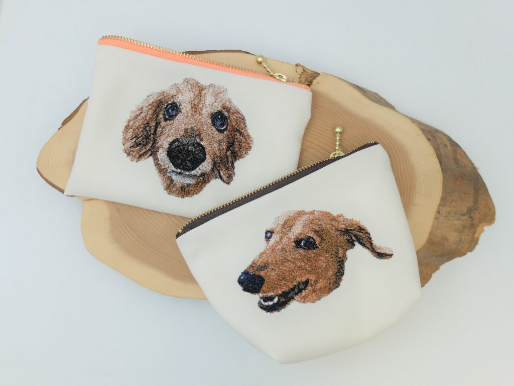 愛犬 フォト刺繍 ポーチ