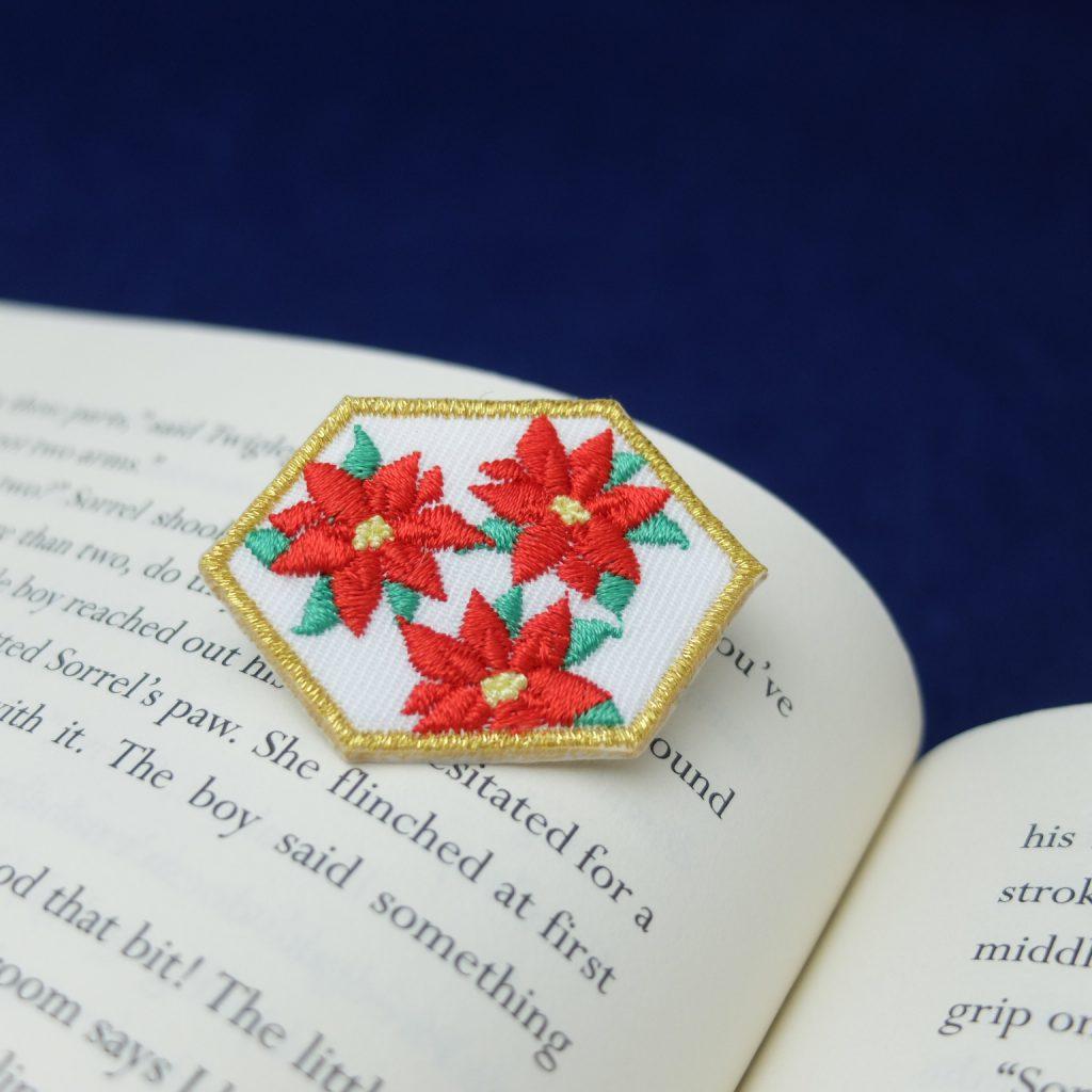 刺繍ブローチ クリスマス ポインセチア