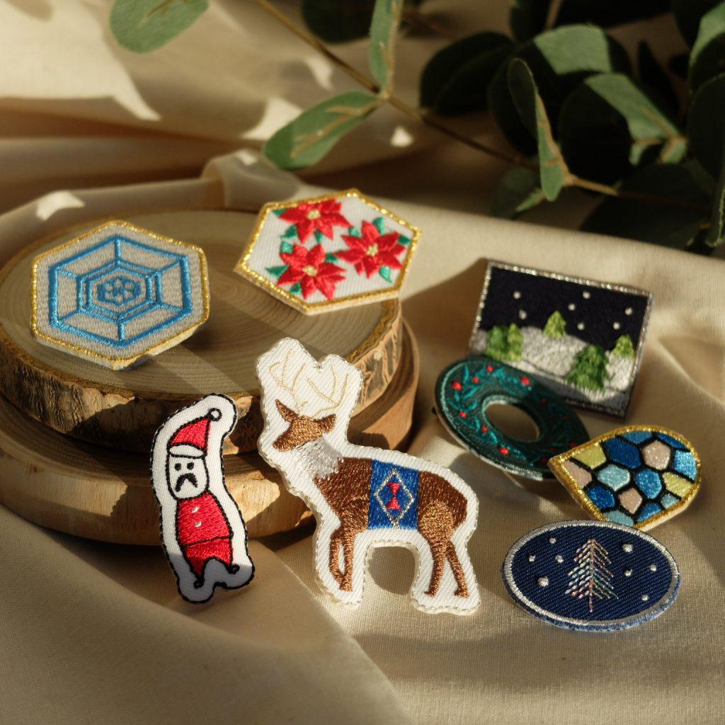 刺繍ブローチ クリスマス